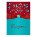 Red, Turquoise Floral Reception Enclosure Card Business Card Templates