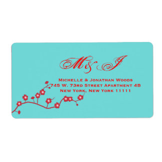 Red & Turquoise Floral Wedding Invitation Stamps Shipping Label