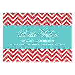 Red & Turquoise Modern Chevron Stripes Business Card Templates