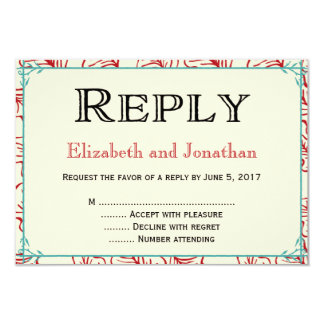 Red & Turquoise Rustic Wedding Reply RSVP Card