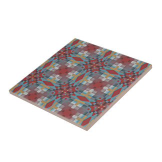 Red Turquoise Teal Orange Eclectic Ethnic Look Ceramic Tile