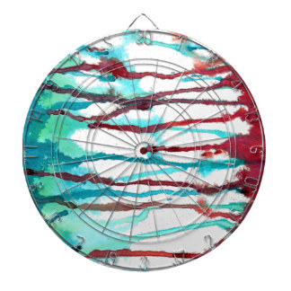 Red & Turquoise Watercolor Drips Dartboard