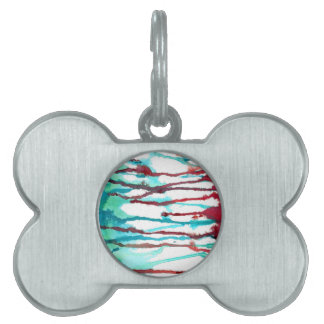 Red & Turquoise Watercolor Drips Pet Tags
