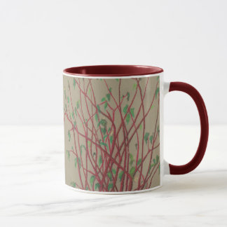 Red twigs, pastel drawing nature art tree branches mug