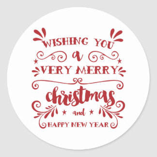 Red Typography Holiday Stickers