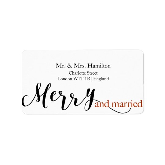 """Red Typography """"merry and married"""" Christmas Address Label"""