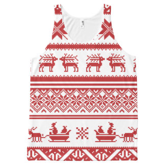 Red Ugly Christmas Sweater Patterns All-Over Print Singlet