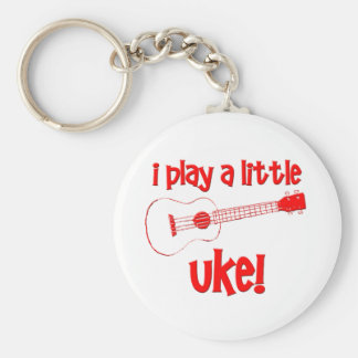 Red Ukulele Basic Round Button Key Ring