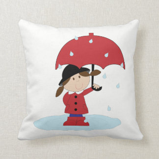 Red Umbrella and Girl Throw Pillow