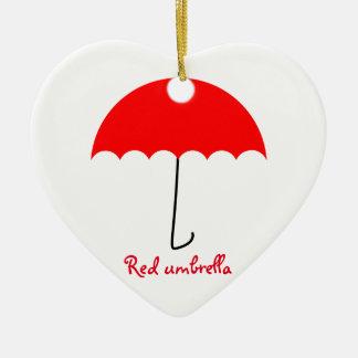 Red umbrella ceramic heart decoration