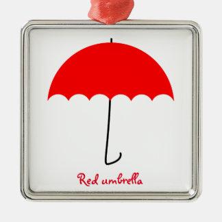 Red umbrella Silver-Colored square decoration