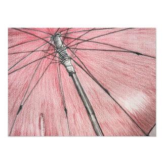 Red Umbrella Sketch 14 Cm X 19 Cm Invitation Card