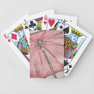 Red Umbrella Sketch Bicycle Playing Cards