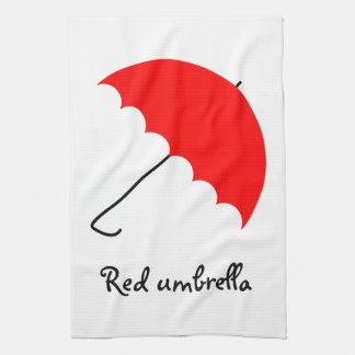 Red umbrella tea towel