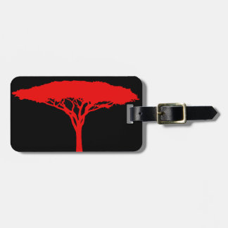 Red Umbrella Tree Personalized Luggage Tag