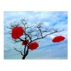 Red Umbrella Tree Postcard