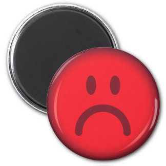 Red unhappy pouty angry smiley face 6 cm round magnet