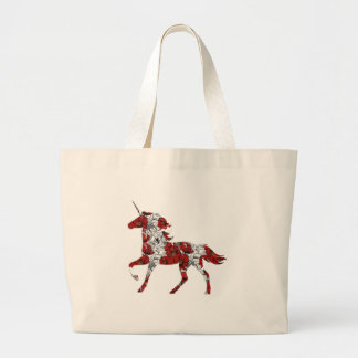 Red Unicorn Flowers Large Tote Bag