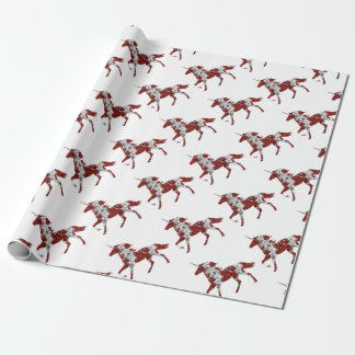 Red Unicorn Flowers Wrapping Paper