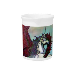 Red Unicorn Horse Pony Dragon Reptile Monster Pitcher