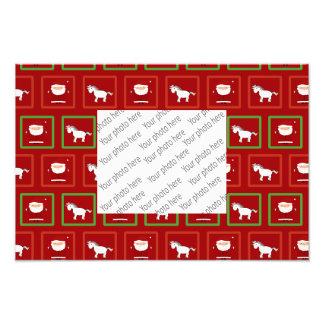 Red unicorns santa claus pattern photo print