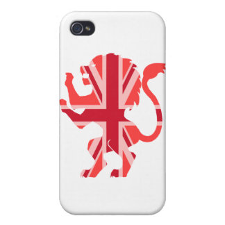 Red Union Jack Lion Cover For iPhone 4