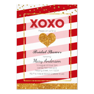 Red Valentine Bridal Shower Invitation