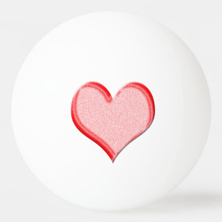 Red Valentine Heart on Ping-Pong Ball
