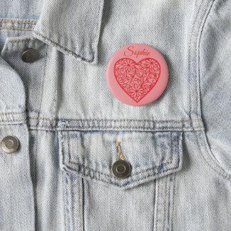 Red Valentine's Heart Personnalised 6 Cm Round Badge