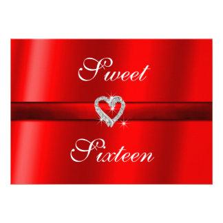 Red Valentine Wedding Sweet Sixteen Invitation