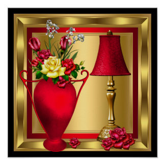 Red Vase of Roses Red Lamp Luxury Gold Black Poster