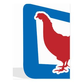 Red vector Chicken Postcard