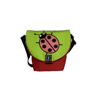Red Vector Ladybugs (Green Background) Courier Bags