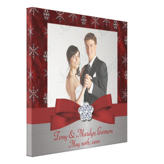Red Velour & Silver Snowflake Add A Photo Frame Up Canvas Prints