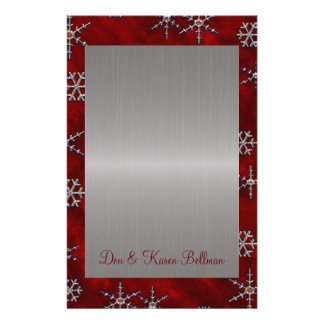 Red Velour & Silver Snowflakes Custom Stationery