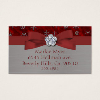 Red Velour & Silver Snowflakes Jewel Business Card