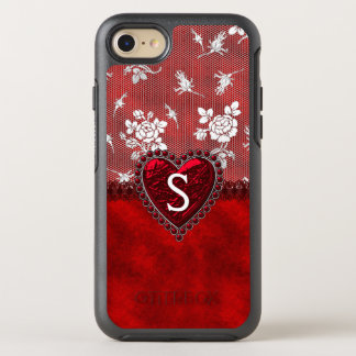 Red Velvet and White Lace Personalised OtterBox Symmetry iPhone 8/7 Case
