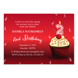 Red Velvet Cupcake 2nd Birthday Party 11 Cm X 16 Cm Invitation Card