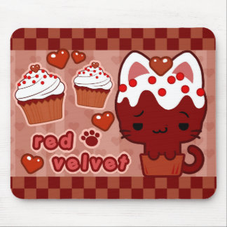 Red Velvet Cupcake Kitty Mousepad