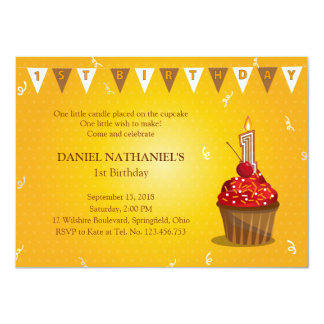 Red Velvet Cupcake Party 1st Birthday Custom Announcement