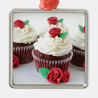 Red Velvet Cupcakes Roses Silver-Colored Square Decoration