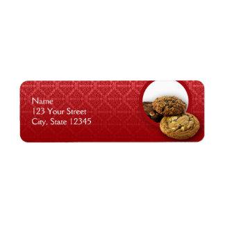 Red Velvet Damask Desserts Business Return Address Label