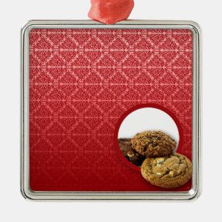 Red Velvet Damask Desserts Business Silver-Colored Square Decoration