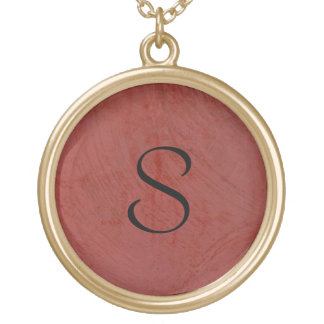 Red Venetian Plaster Initial Gold Plated Necklace