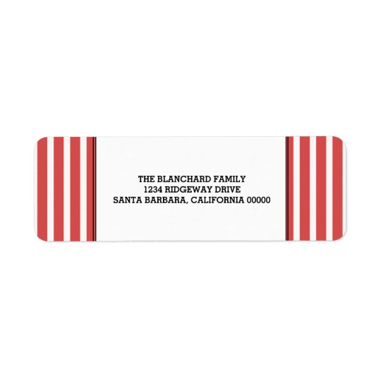 Red Vertical Festive Stripes Holiday Return Address Label