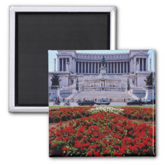 Red Victor Emmanuel Monument, Rome, Italy flowers Square Magnet