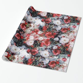 Red Victorian Roses Floral White Black Wrapping Paper