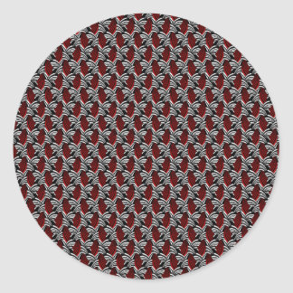 Red Vine Pattern Round Stickers