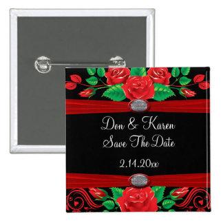 Red Vine Roses On Black Date Saver Pins