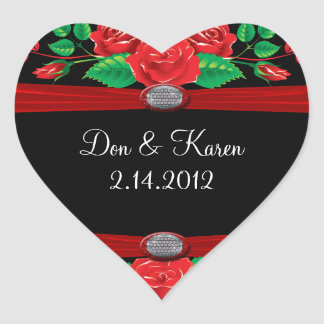 Red Vine Roses On Black Heart Stickers